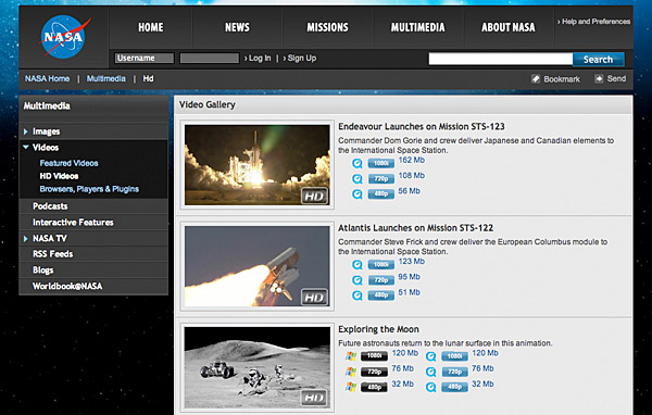 A NASA Web Page That Offers A Number Of NASA Videos In Various Formats And  Compression