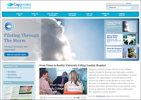 Screen Capture Of The Capgemini Home Page.